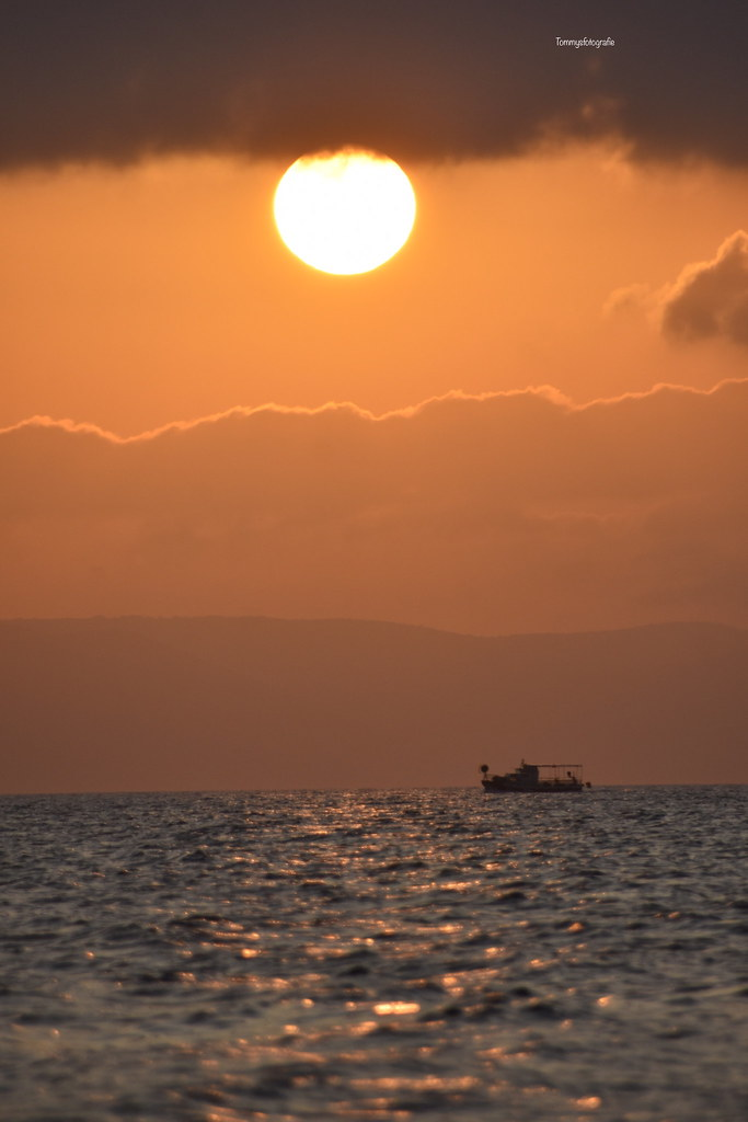 Sunset between the clouds. Photo taken in Igrane Croatia