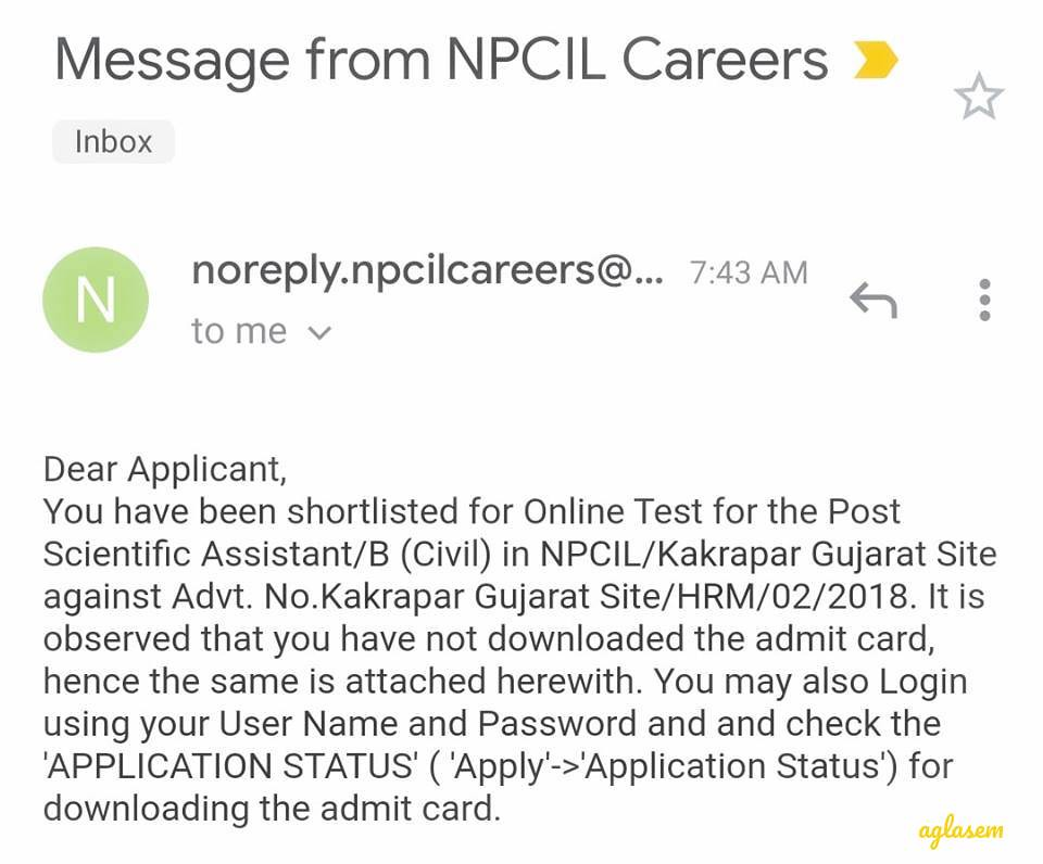 NPCIL Kakrapar Gujarat Admit Card 2019 Released, Candidates Get Email