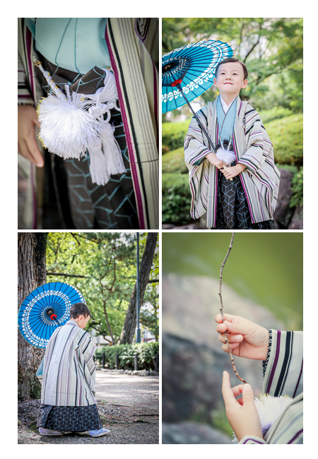 七五三 青い和傘 羽織袴 小刀