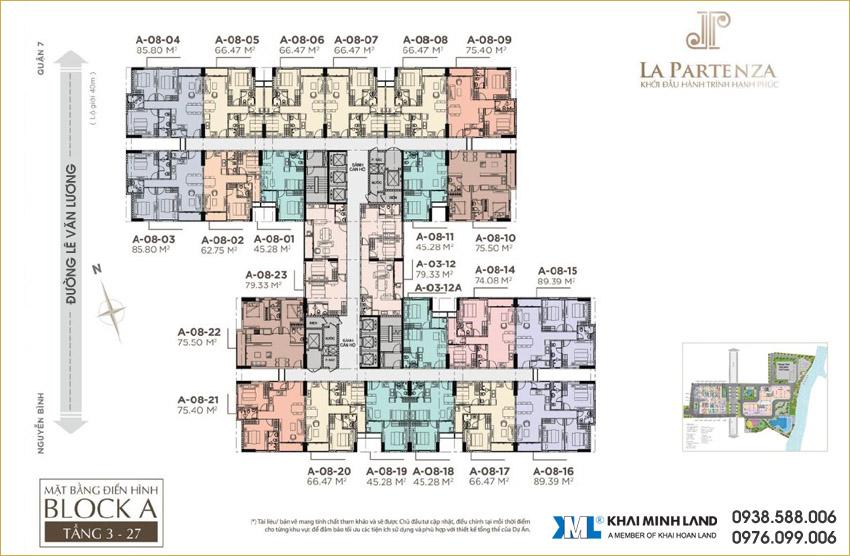 Mặt bằng tầng căn hộ tại dự án La Partenza Nhà Bè - Khải Minh Land.