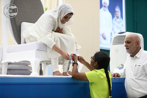 Child devotee seeking blessing