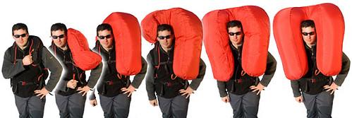 Lavinový batoh, který chrání hlavu