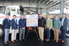 From left to right: Jake Schneider Senior Project Manager Commercial Solar, Earthlight Technologies, Eric Virkler Director of Commercial Solar, Earthlight Technologies, Rep. Tim Ackert, Rep. Chris Davis, Timothy J. Schneider Co-Owner & Chief Executive Officer, Earthlight Technologies, Samuel J. Schneider Co-Owner & Chief Operating Officer, Earthlight Technologies, and Frank M. Antonacci Chief Operating Officer, USA Hauling & Recycling