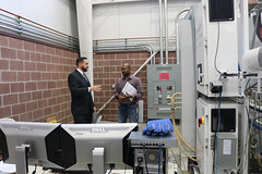 Rep. Davis toured R&D Dynamics Corporation in Bloomfield with Project Manager Sam Rajendran and Dr. Agrawal to learn more about their innovative high speed turbomachinery. They are currently installing their first thermoelectric generators to recapture energy from waste heat to create oil-free, renewable energy at the new fuel cell energy park and high speed data center in New Britain.