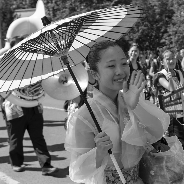 with a parasol