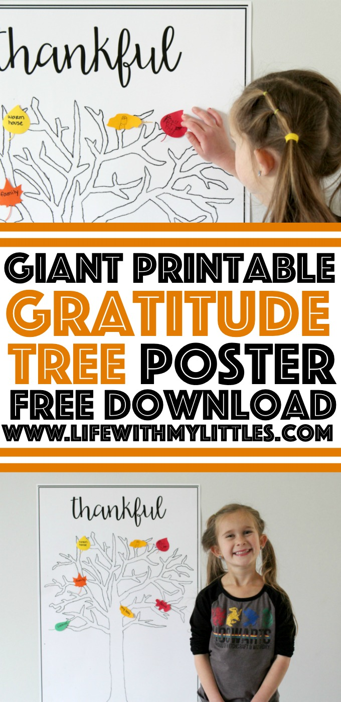 This free giant printable gratitude tree is such a great visual representation of gratitude in November! Print it off and count down the days to Thanksgiving! Perfect for kids of all ages and adults!