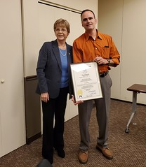 Rep. Zawistowski presented Art Groux with a congratulatory citation in recognition of his 20 years of service to the Suffield Volunteer Ambulance Association.