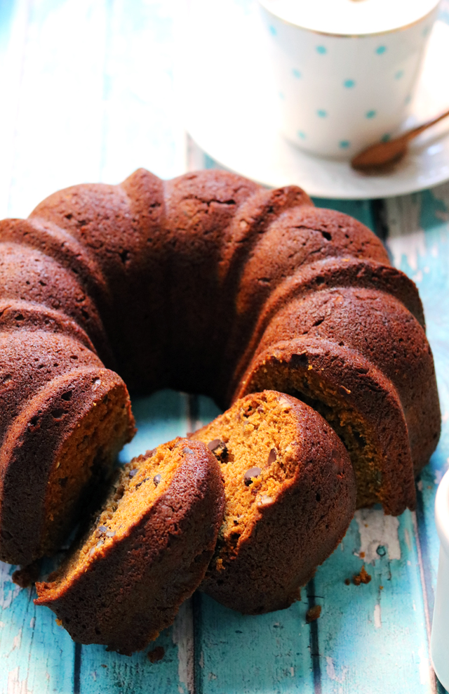 Pumpkin Olive Oil Bundt Cake with Chocolate and Pecans