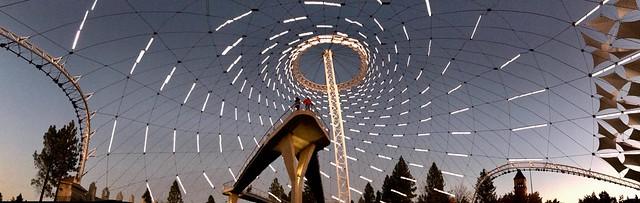 365-5-297 Spokane, Riverfront Park Pavillion, Nighttime pano 1