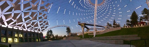 Spokane, Riverfront Park Pavillion, Nighttime pano 2