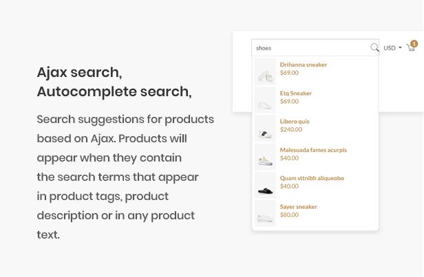 Ap 2020 Free Shopify eCommerce Theme - ajax search