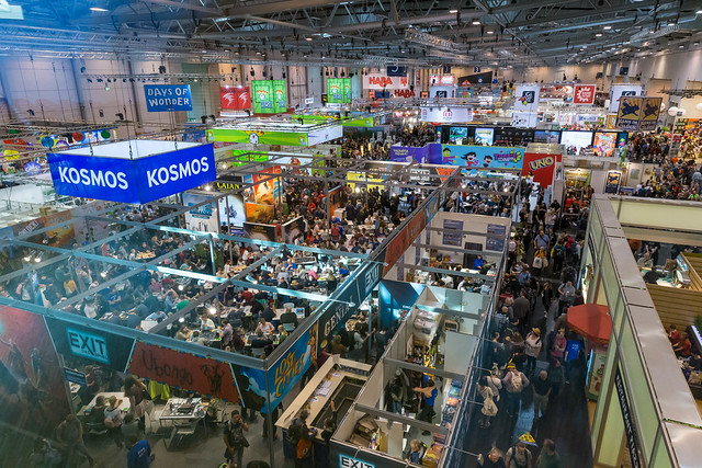 The largest consumer fair for gaming in the world: SPIEL 19 in Essen, Germany, seen from above