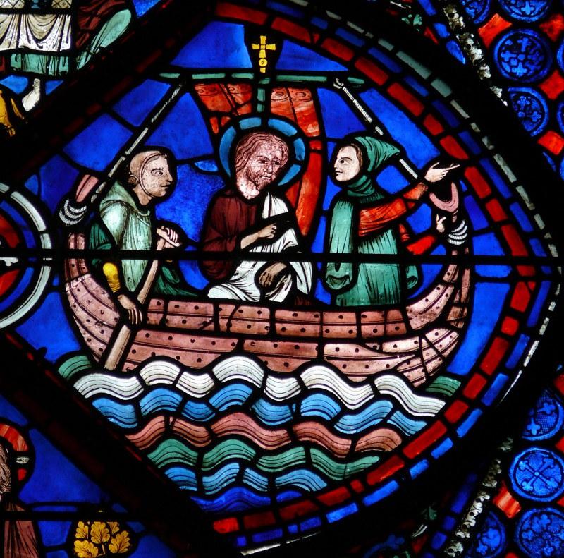 064 Плавание апостола Фомы с купцом Аваном в Индию. Фрагмент витража с жизнеописанием Фомы