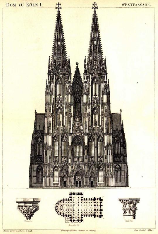 144 Чертеж фасада и план собора