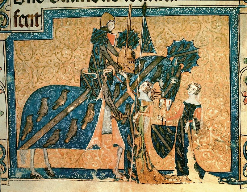 189 Латтреллова псалтирь. Cэр Джеффри Латтрелл с женой и дочерью нач XIV в