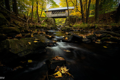 tanneryhillbridge gilford new hampshire foliage autumn covered bridge stream nature landscape