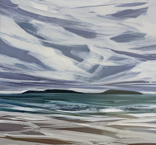 Whitesands Bay, chevron sky, winter. My Places Project, acrylic on board.