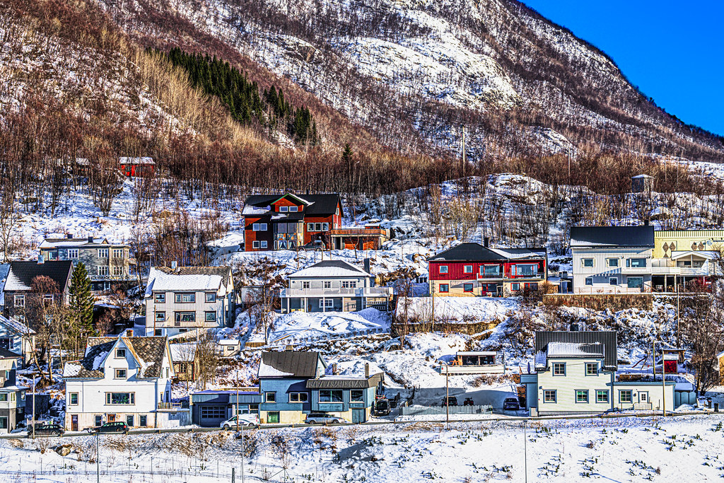 Architecture of homes lined up on the hillside of Narvik, Norway-51a