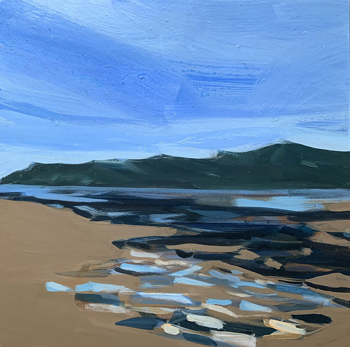 Wales, Dulas Bay, Blue Hour, My Places Project, acrylic on board