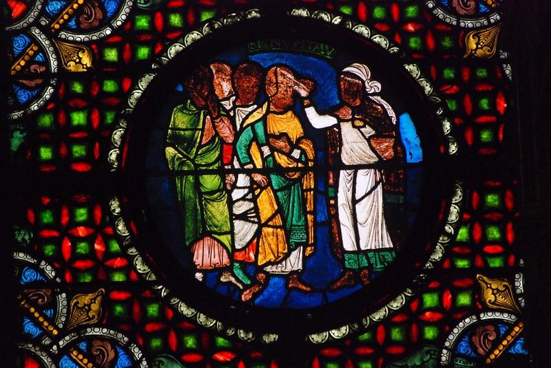 016 Витраж Сен-Дени XII в. Видение Иезекииля Проставление знака тау на челах