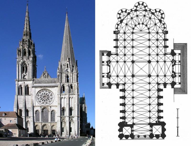 039 Собор Нотр-Дам де Шартр. Западный фасад и план, 1194-1260