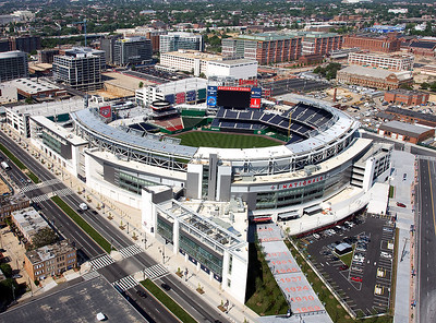 Aerial view of Nationals Park. The Nationals' previous stadium, RFK Stadium, is barely visible near the top of the picture
