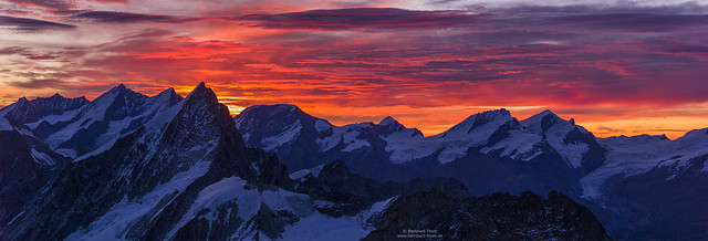 Dawn panorama with Obergabelhorn before Mischabel group