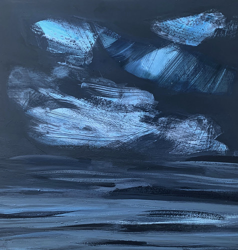 Wales: Lligwy Bay, blue, My Places Project, acrylic on board