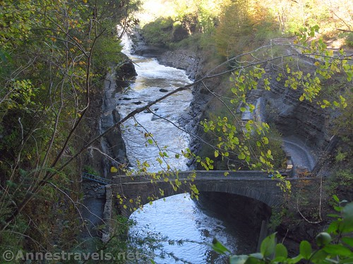 Looking down on the bridge and Lower Falls from Trail #6, Letchworth State Park, New York