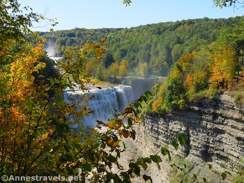 One benefit of visiting the viewpoint in the off-season would be the lack of foliage between you and Middle Falls, Genesee Valley Greenway, Letchworth State Park, New York
