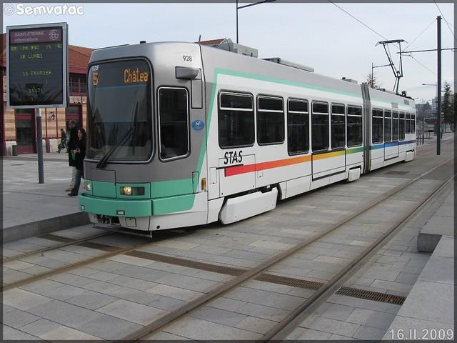 Alsthom TFS (Tramway Français Standard) – TPAS (Transports Publics de l'Agglomération Stéphanoise) (Veolia Transport) / STAS (Société de Transports de l'Agglomération Stéphanoise) n°928
