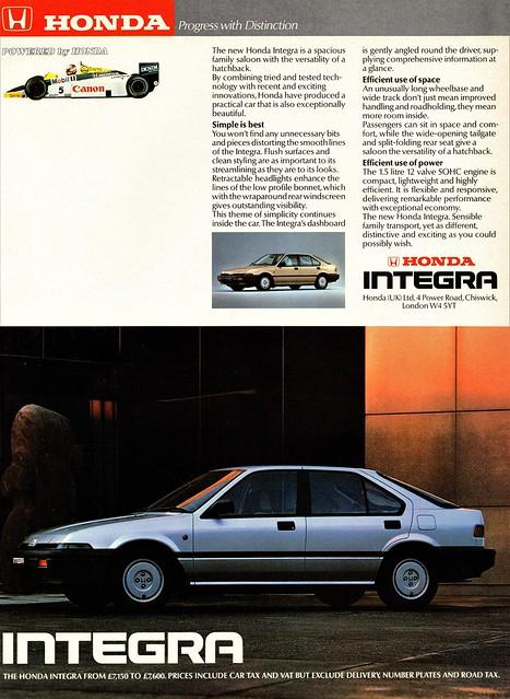 1986 Honda Integra (U.K. Ad)