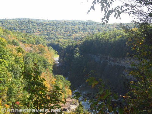 Views from the top of Trail #6 down toward the Lower Falls, Letchworth State Park, New York