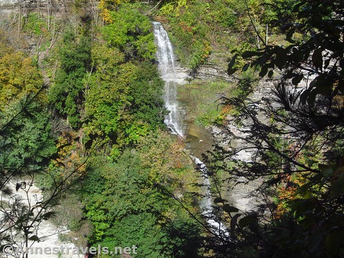 Deh-ga-ya-soh Falls - aka the waterfall across the gorge from the river that flows near Inspiration Point - from the Genesee Valley Greenway, Letchworth State Park, New York