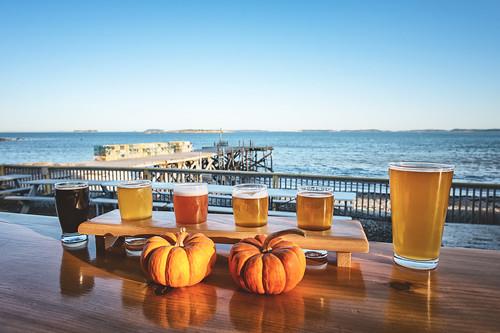 maine newengland ocean shore beer brewery view fall pumpkins dock pier coast