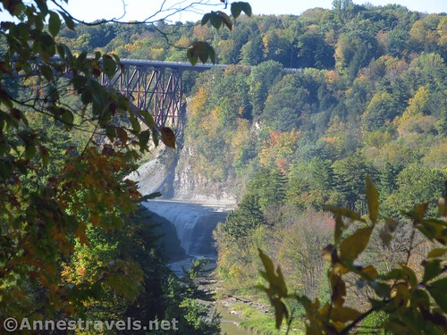 A shadowy Upper Falls and the Trestle from the view of Middle Falls, Genesee Valley Greenway, Letchworth State Park, New York