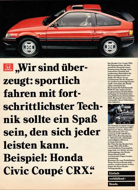 1984 Honda Civic CRX Coupe (German Ad)