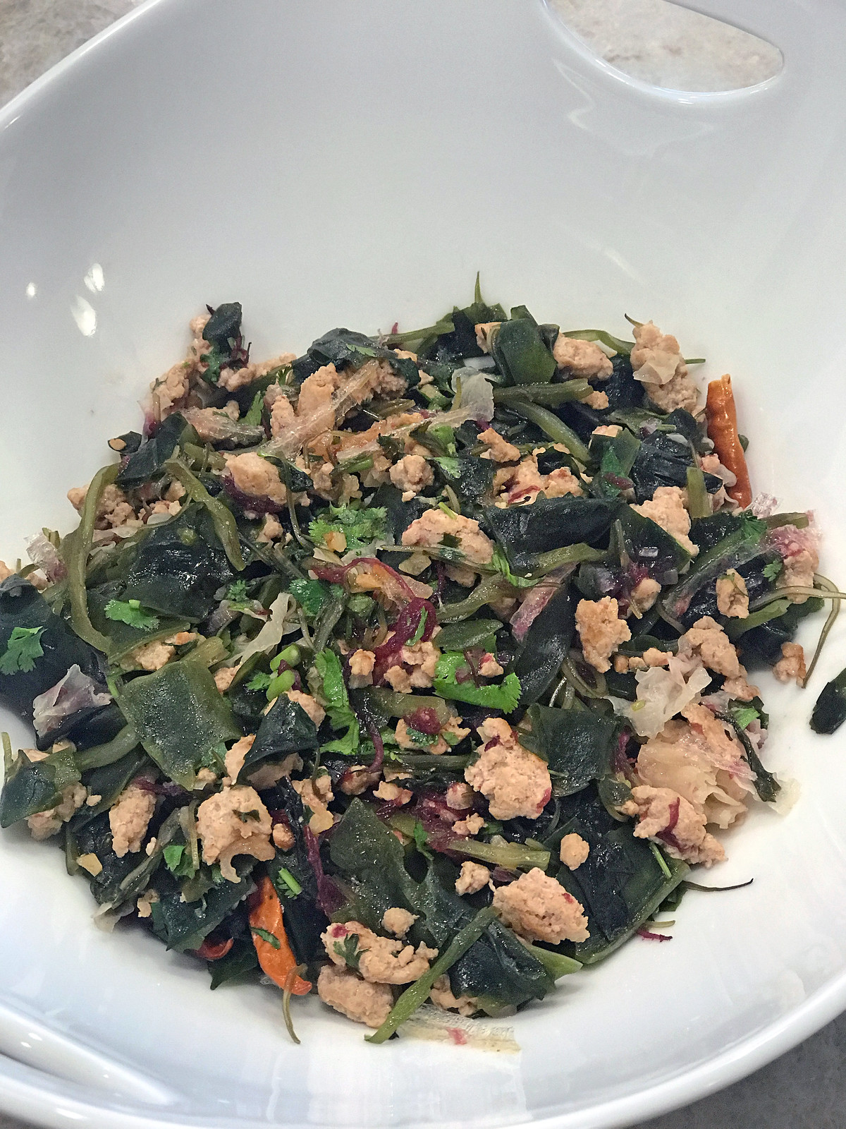 Seaweed and ground turkey stir-fry