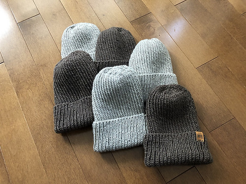 Lots of ribbed W-A-L-K Hats by Becca Hulme Designs knit by Lise (Mattedcat)