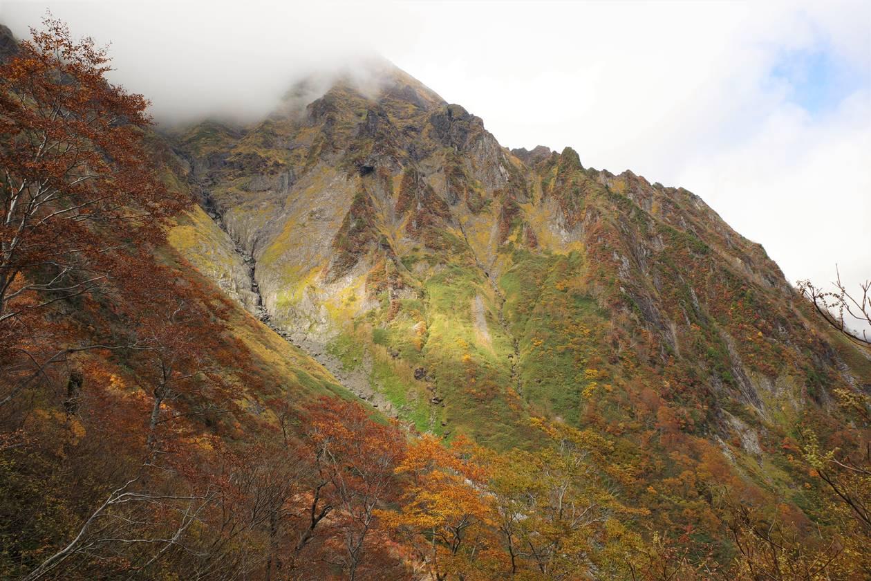紅葉と谷川岳の岩壁