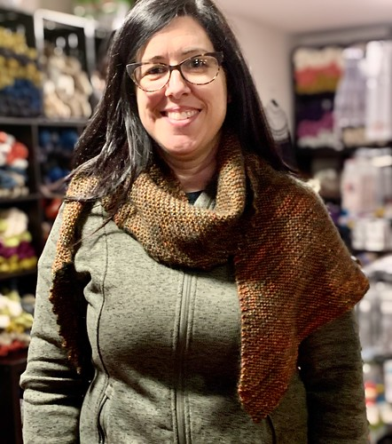Jen knit this beautiful shawl to gift using Malabrigo Arroyo held double with Drops Kid Silk