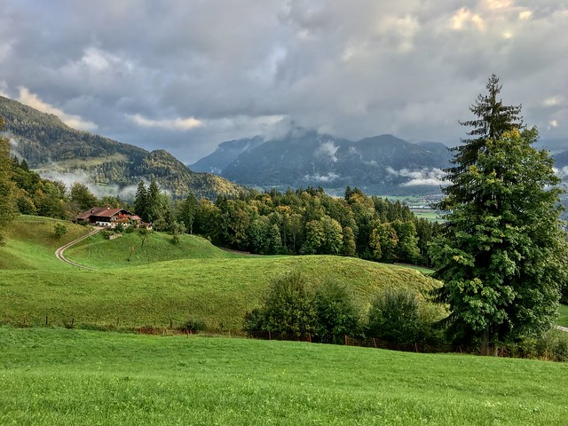 Autumnal landscape seen from Hocheck mountain near Oberaudorf, Bavaria, Germany