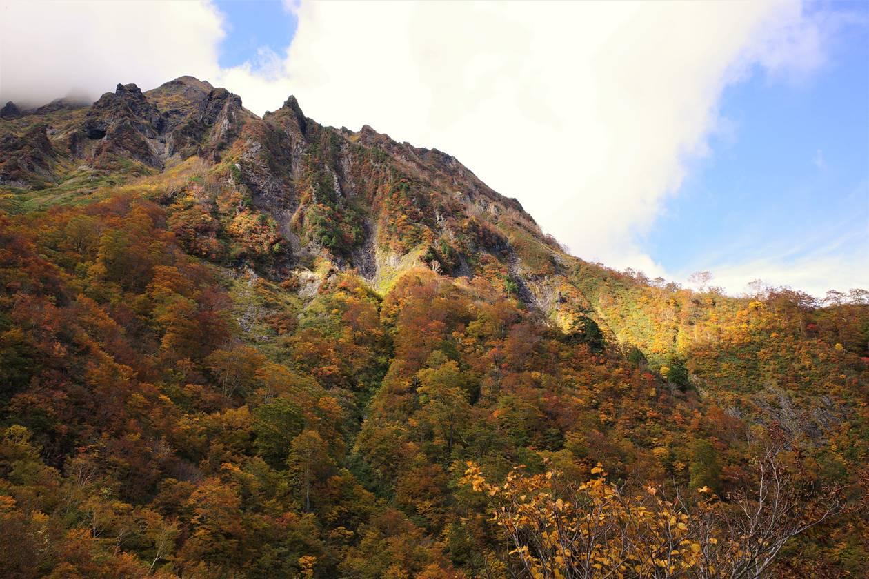 谷川岳登山 厳剛新道・第一見晴から眺める紅葉風景