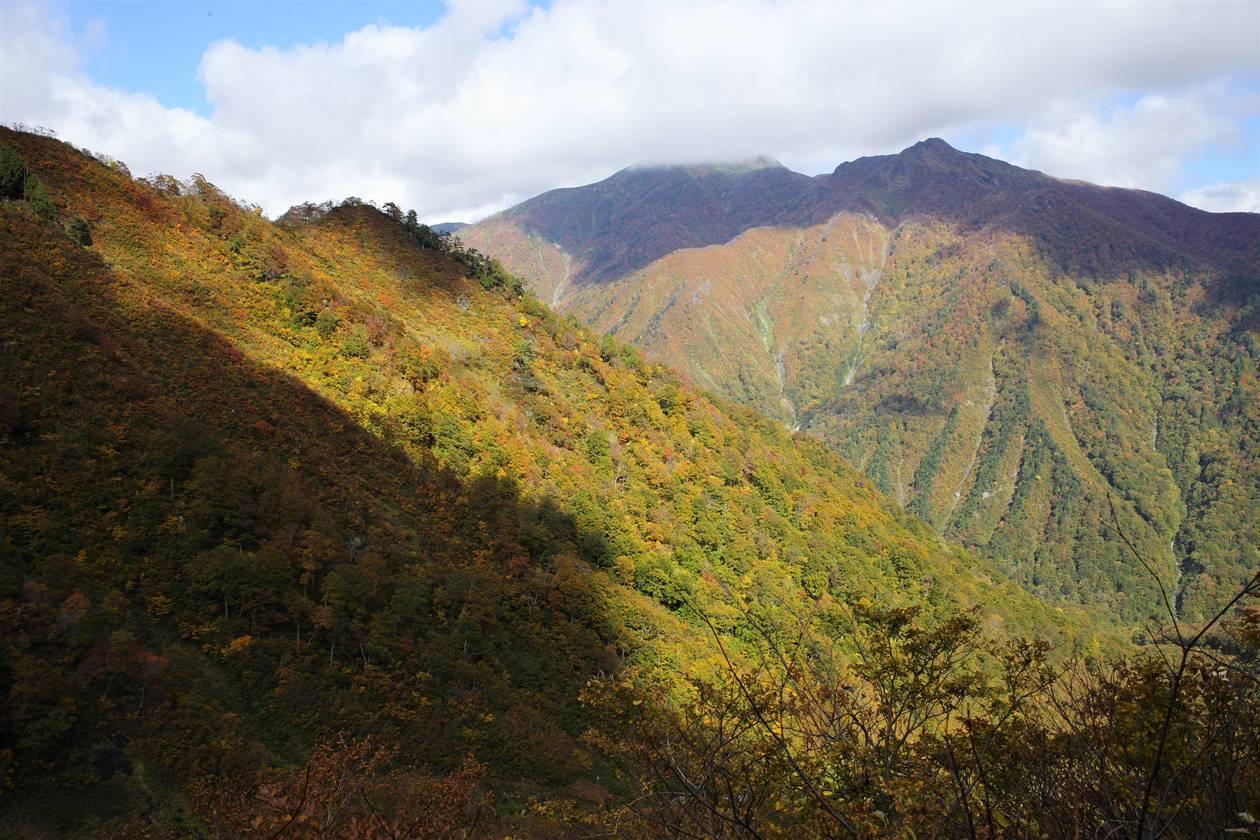 谷川岳から眺める白毛門方面の紅葉風景