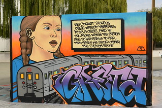 Greta Thunberg and Train Mural 1