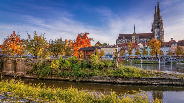 Regensburg decorated with autumn colors