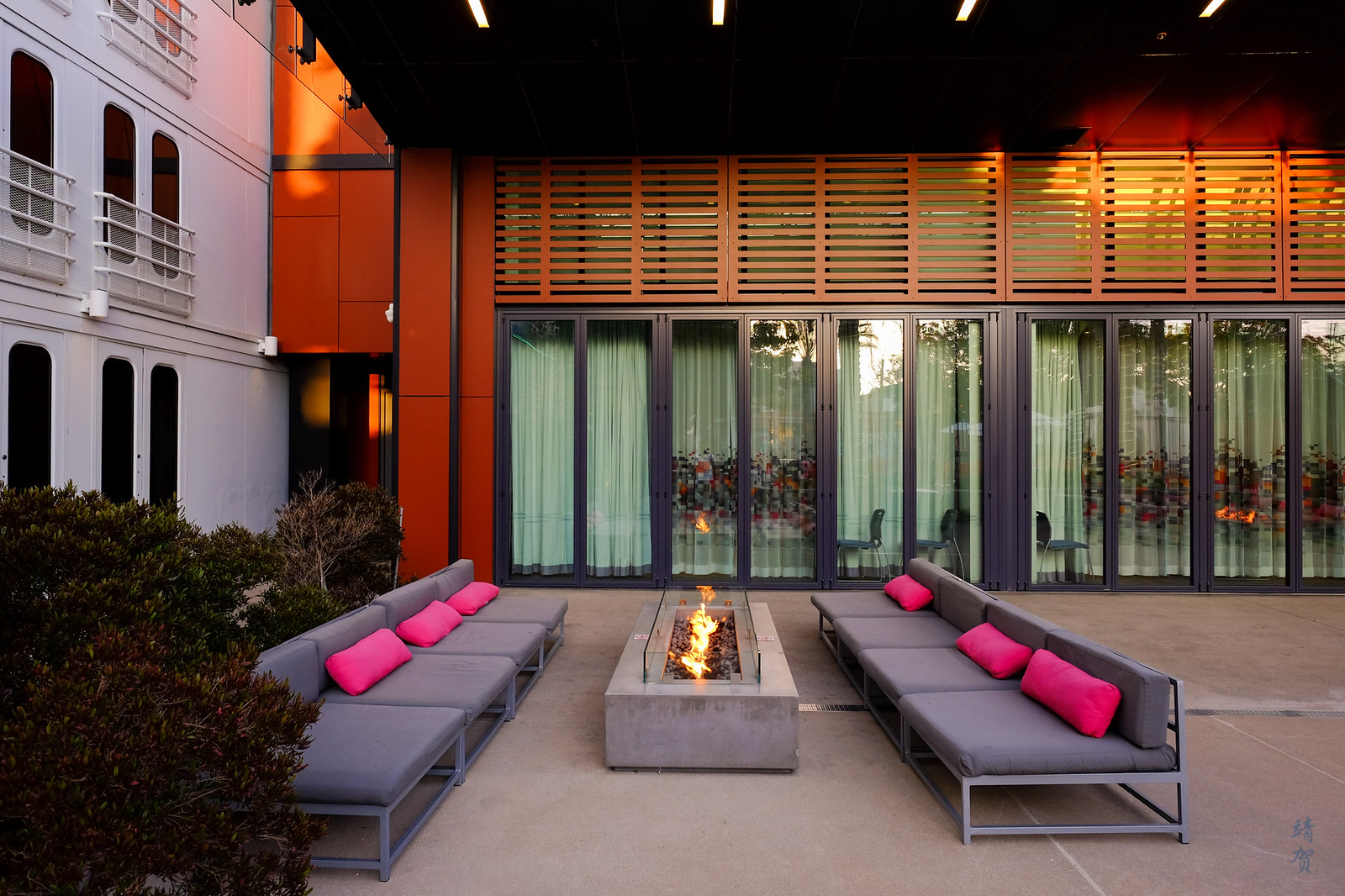 Alfresco lounge with fireplace