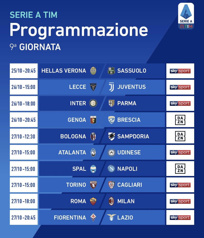 Serie A Tim La Programmazione Televisiva Della 9ª Giornata Hellas Live