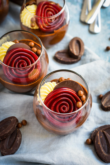 Manjari Valrhona mousse, Raspberry Jelly, marcarpone cream