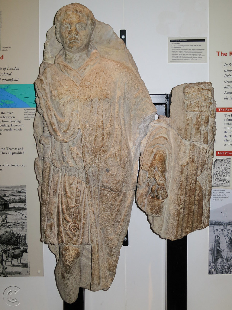Stone figure of Roman soldier at the Museum of London